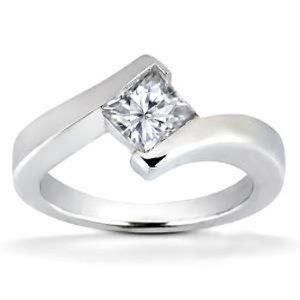 1.5 ct Princess cut Bezel set diamond engagement r